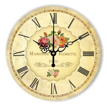 2017 Retro Circular Modern Kitchen Wall Clock Flower Home Decor Big Wall  Hanging Clocks European Style Wall Clock Living Room
