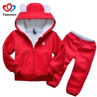 Kids 2pcs Sport Suits Panda Clothes Baby Boys Tracksuit Children Girls Hoodie Clothing Sets Toddler Casual Thick Costumes Winter