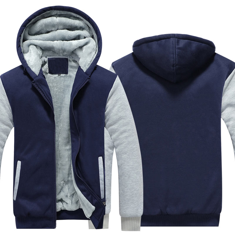 Herren Vlies Zip Up Hoodie Jacke Lange Ärmel Hooded Warm Beiläufig Sweatshirt