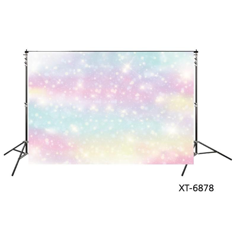 Birthday unicorn party decor photography backdrop photo props XT-6878 Fantasy sparkling glitter lights with rainbow photo background