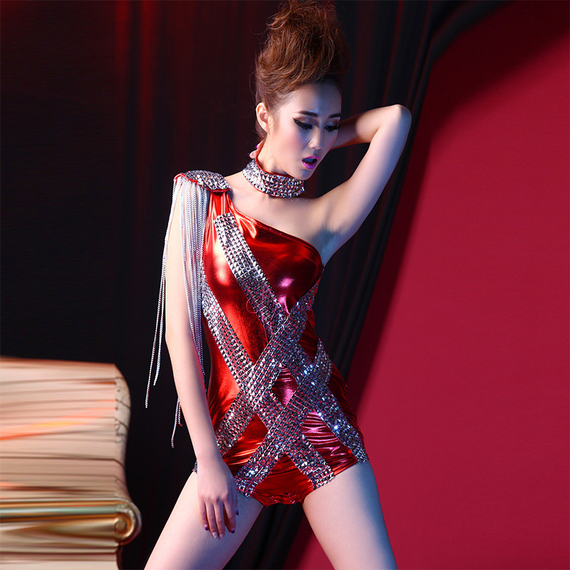 Classical Women Dj Atmosphere Jumpsuit&collar Female Singers Sexy Jazz Clothe Nightclubs DS Performance Costume Bar Show Suit