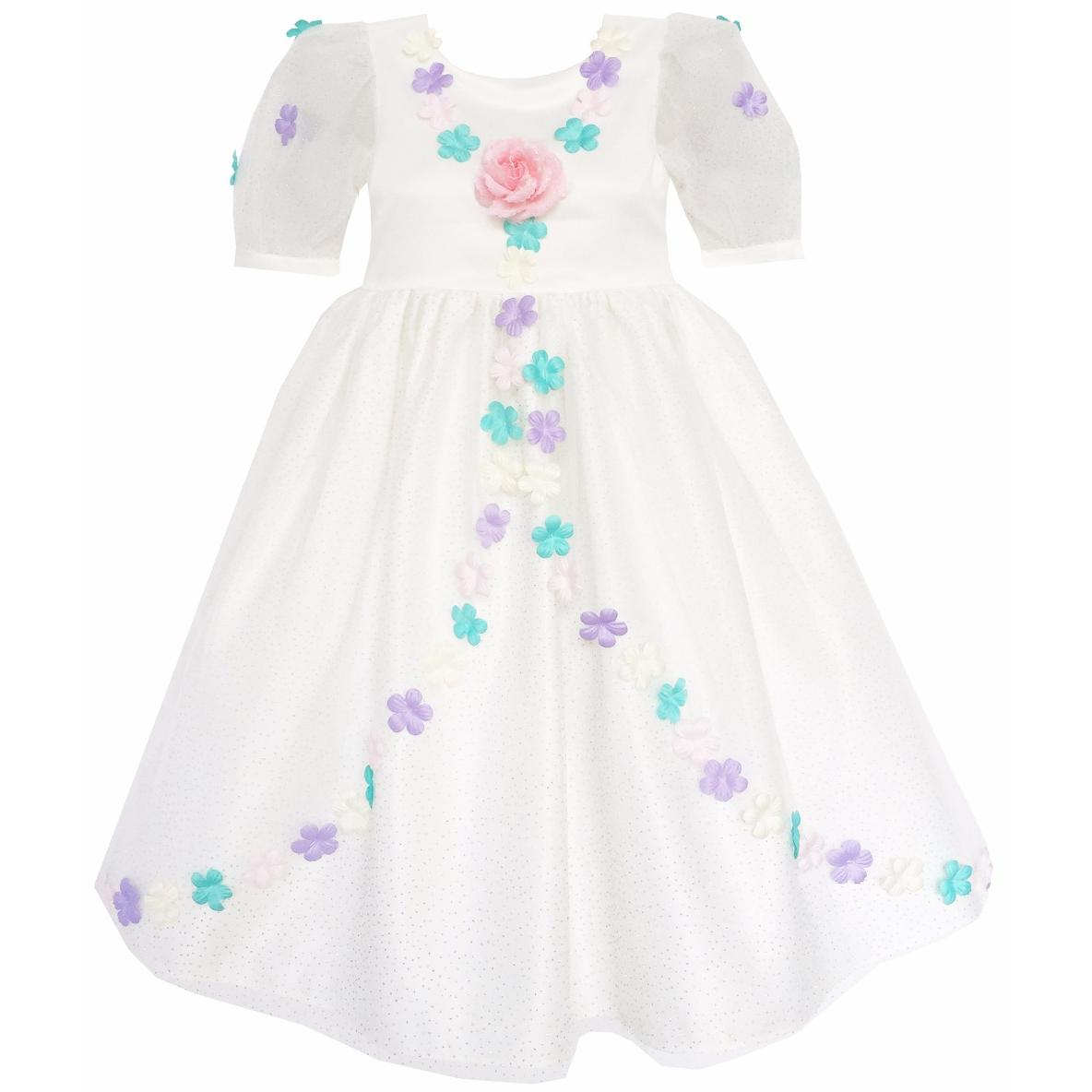Sunny Fashion Flower Girl Dress Sequin Rose Flower Petal Wedding Princess 2018 Summer Party Dresses Kids Clothes Size 4-14 sunny fashion flower girls dress peach ruffle butterfly wedding bridesmaid 2018 summer princess party dresses clothes size 6 14