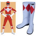 Mighty Morphin Power Rangers Rocky Tyranno Ranger Cosplay Costume Shoes Pu Leather Boots Shoes New Custom For Women Men