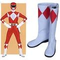 Mighty Morphin Power Rangers Rocky Tyranno Ranger Cosplay Zapatos Botas Zapatos de Cuero de La Pu Nuevo Personalizado Para Hombres de Las Mujeres