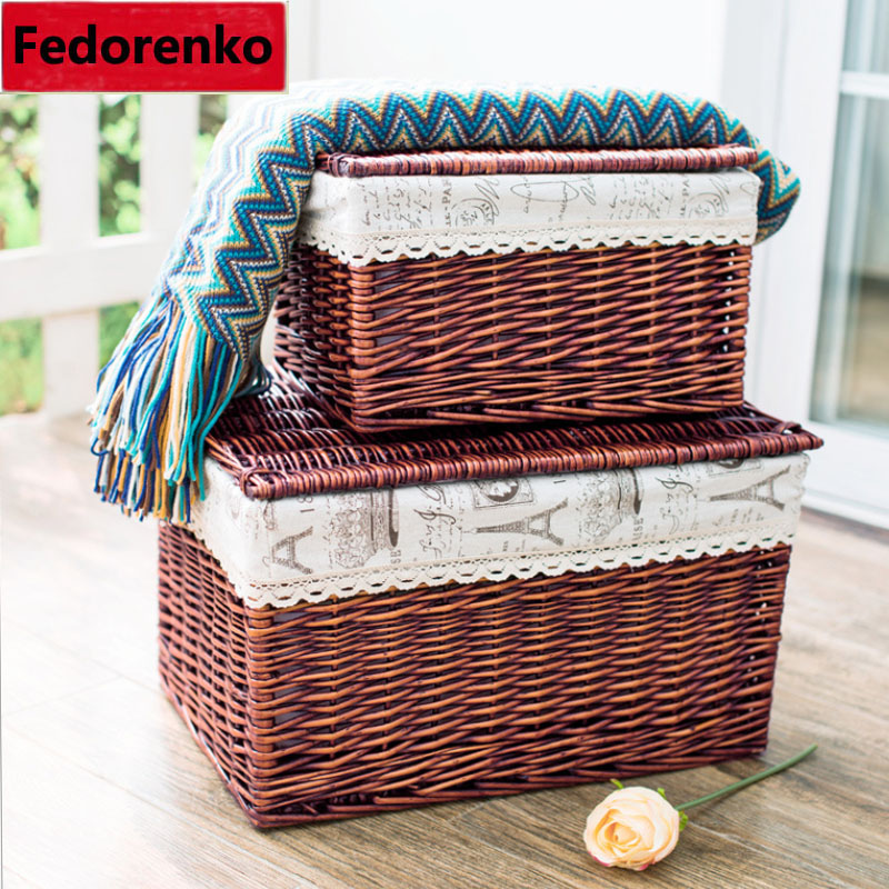 Aliexpress.com : Buy Pastoral Groceries Small Large Wicker Storage Baskets  With Lids Decorative Square Covered Wicker Baskets For Gifts Organizer Box  From ...