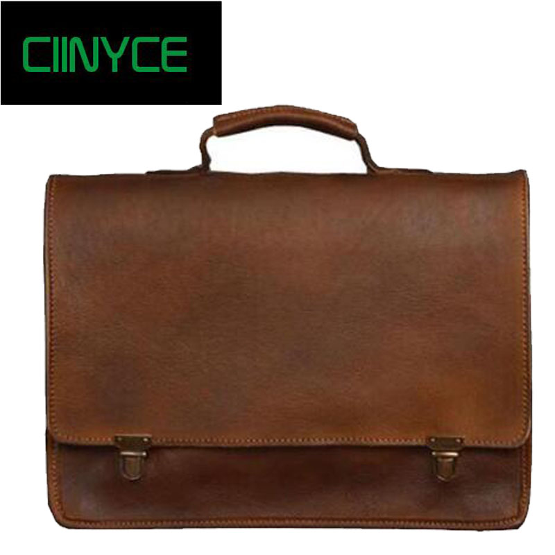Vintag Cowhide male Briefcase Genuine Cow leather Business Shoulder Crossbody Quality Stylish Brand Handbags Tote Bag for Man fashion men briefcase genuine leather business shoulder bags quality stylish brand handbags brand tote bag for ma 7100