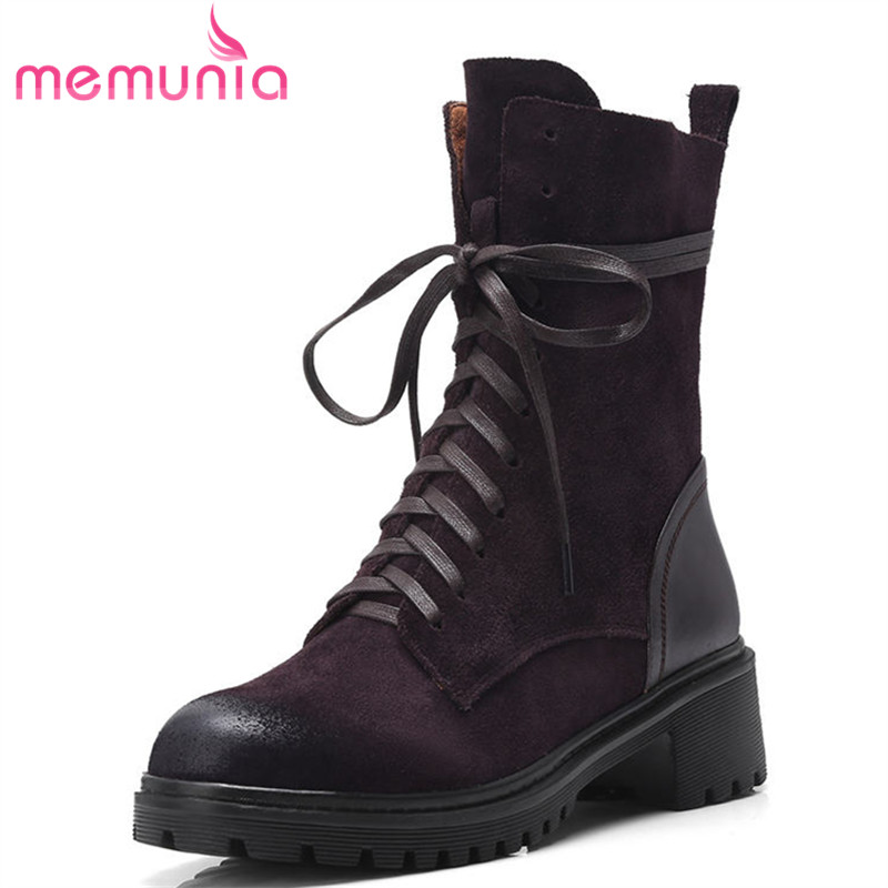 MEMUNIA 2018 new arrive ankle boots for women lace up martin boots hot sale genuine leather boots fashion autumn winter shoes 2017 new autumn winter shoes for women ankle boots genuine leather boots women martin boots lace up platform combat boots botas