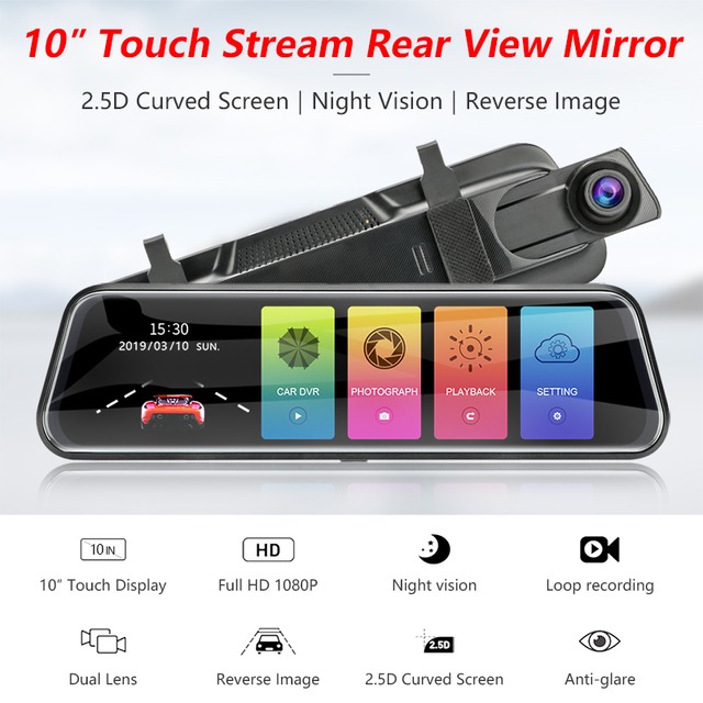 Jansite 10-inch Stream Mirror Car DVR Dual Lens Video Recorders Touch Screen Full HD 1080P Car Cameras Dash Cam Motion Detection 1