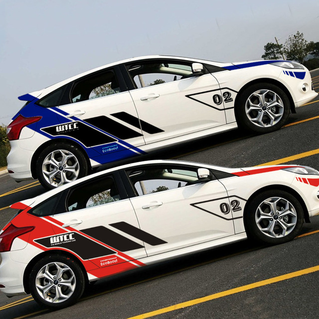 Classical wtcc design car whole body decor vinyl stickers for new ford focus 2car