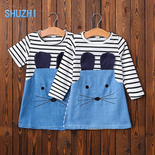 SHUZHI Hot Cut Mouse Baby Girl Dresses Princess Girls Stripe Dress Best Quality Baby Clothe