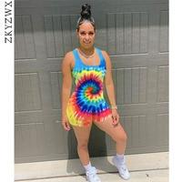 ZKYZWX Tie Dye Printing Multi Color Playsuit Summer Streetwear Casual Vest Jumpsuit Overalls Fashion Nova Womens Clothing Romper
