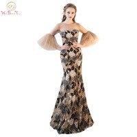 Marcher À Côté de Vous Champagne Coloré Robes De Soirée Sirène Trois Trimestre Manches robes de fiesta largos elegantes de gala