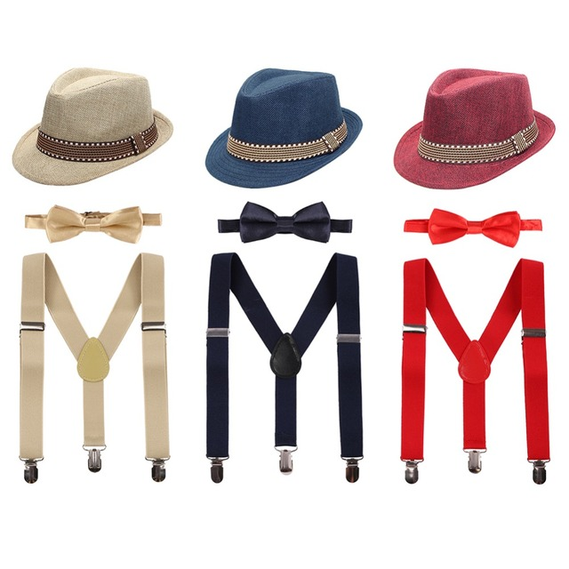 6b5c320a527 3pcs Set Baby Kid Girl Boy Cake Smash Outfit Formal Fedora Bow Tie    Suspenders Bundle