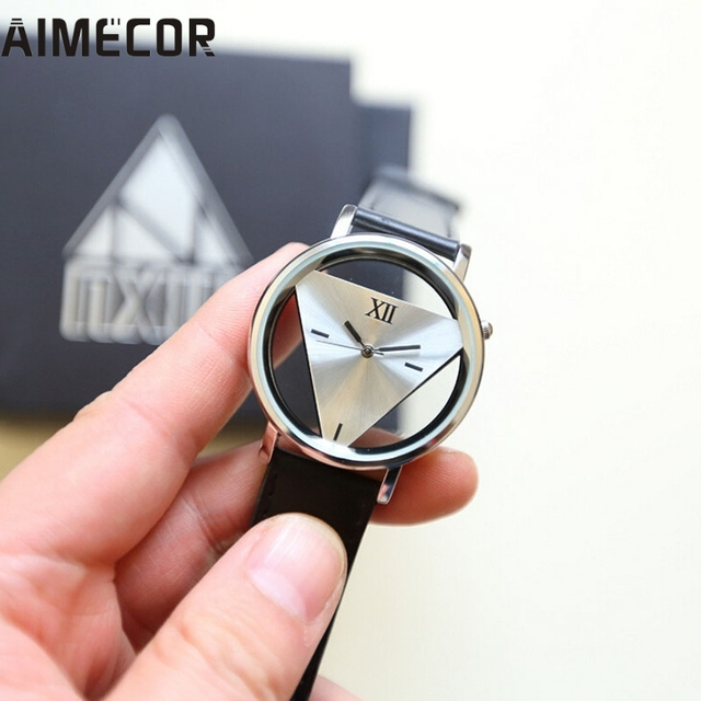 2017 NEW Aimecor new Mens Womens Unique Hollowed-out Triangular Dial Black Fashi