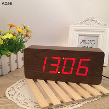 High Quality handmade wooden Numbers Design Alarm Clock Sounds Control LED display wood clock designs 21*9*5cm reloj despertador