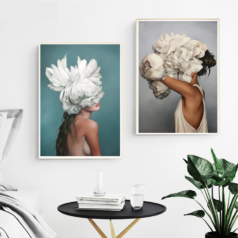 Flowers Feather Girls Fashionable Posters Canvas Artwork Prints Summary Canvas Oil Portray Wall Photos House Residing Room Wall Decor Portray & Calligraphy, Low-cost Portray & Calligraphy, Flowers Feather Girls...