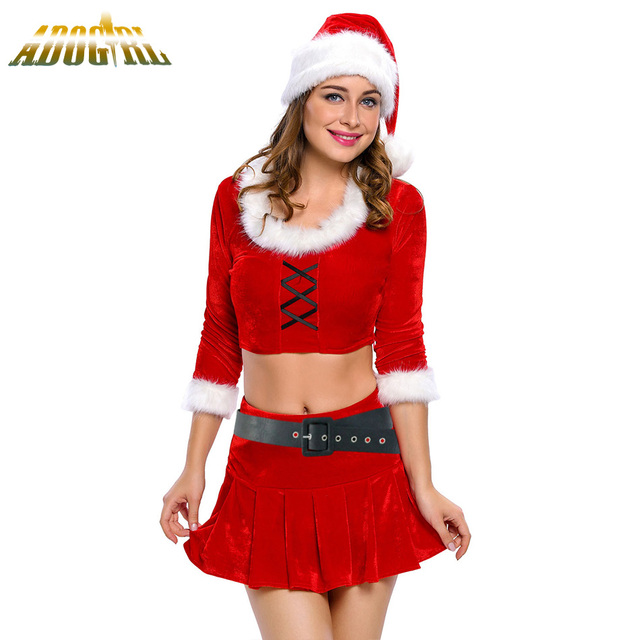 Adult Sexy Ms. Santa Costume Red Christmas Carnival clothes