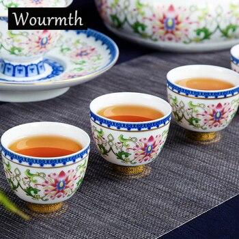 китайские чайные чашки | Китай Цзиндэчжэнь фарфор 12 шт. Глазированная керамическая чайная Подарочный комплект высокая-huality Крышка Чаша чайная чашка полный набор из...