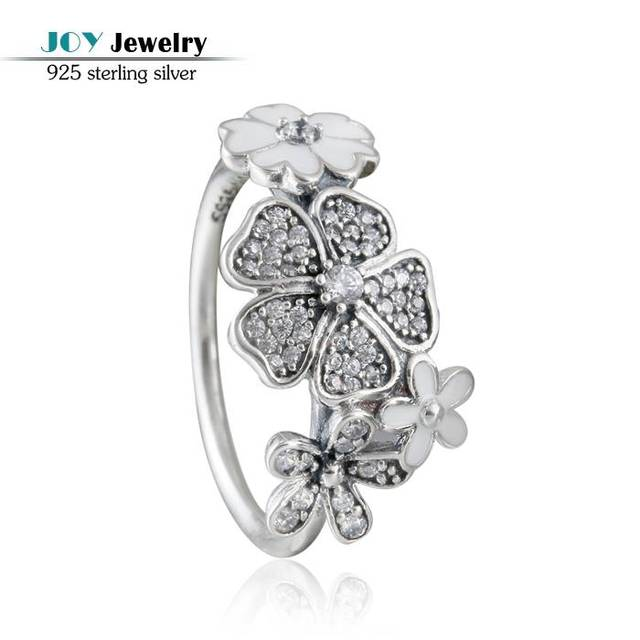 2016 Spring Shimmering Bouquet Rings For Women 925-Sterling-Silver Wedding Pave AAA CZ Flower Ring With Brand Logo JOY JEWELRY