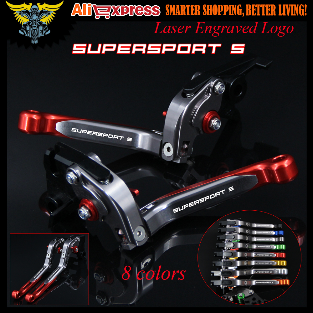 2017 New With Logo Red&Titanium CNC Adjustable Folding Extendable Motorcycle Brake Clutch Levers For Ducati SUPERSPORT S 2017 for ducati 848 evo 749 999 1098 1198 1199 899 panigale red motorcycle adjustable folding extendable brake clutch levers