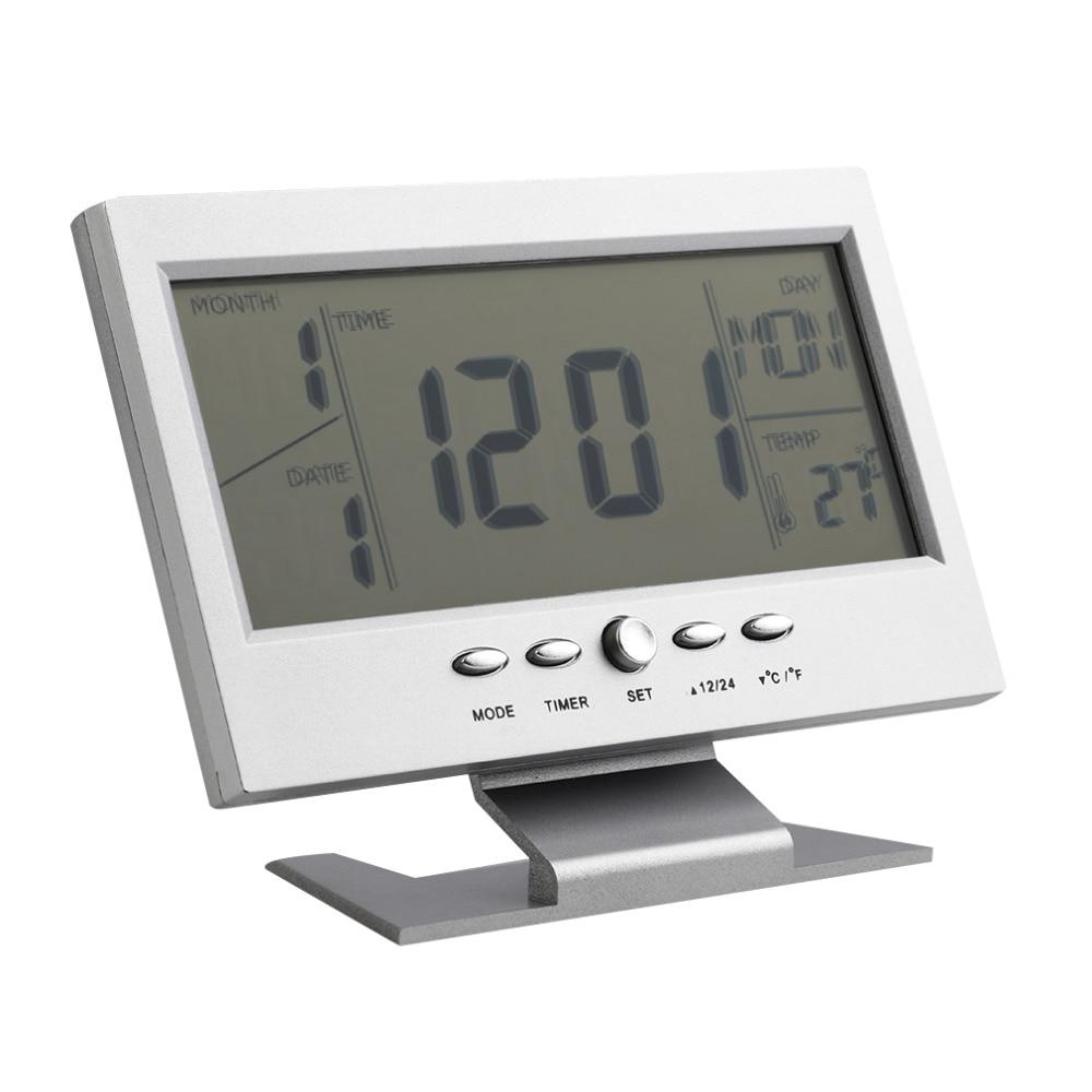 Voice Control Back-light Lcd Alarm Clock Weather Monitor Calendar With Timer Sound Sensor Temperature Decor Desktop Table Clock Clocks Home & Garden