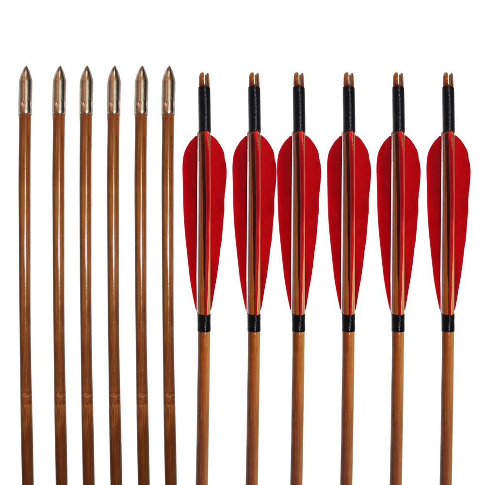 12Pcs Bamboo Shaft Arrows 33 Turkey Feather Traditional Arrow 500Spine for Recurve Bow Hunting