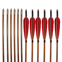 12Pcs 33 Turkey Feather Traditional Bamboo Shaft Arrows