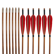 12 Шт. Бамбук Вал Стрелки 33 «Индейки Перо Традиционные Стрелка 500 Позвоночник для Изогнутый Лук Охоты
