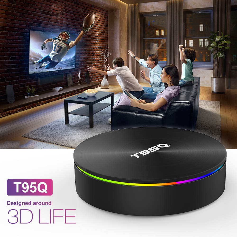 T95Q 4GB 64GB Android 9.0 TV BOX 4K lecteur multimédia DDR3 Amlogic S905X2 Quad Core 2.4G & 5GHz double Wifi BT4.1 100M H.265 Smart TV Box - 4