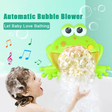 Baby Bath Toy Bubble Machine Big Frogs Automatic Bubble Maker Blower Music Bubble Maker Bathtub Soap Machine Toys for Children(China)