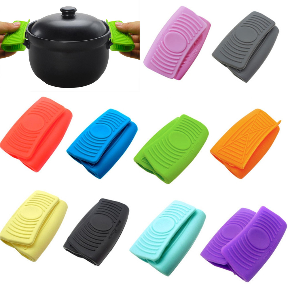 2x Oven Mini Gloves Silicone Heatproof Anti-scalding Gloves for Cooking Clamp Pot Holders and Potholders High Quality Hot SaleM3(China)