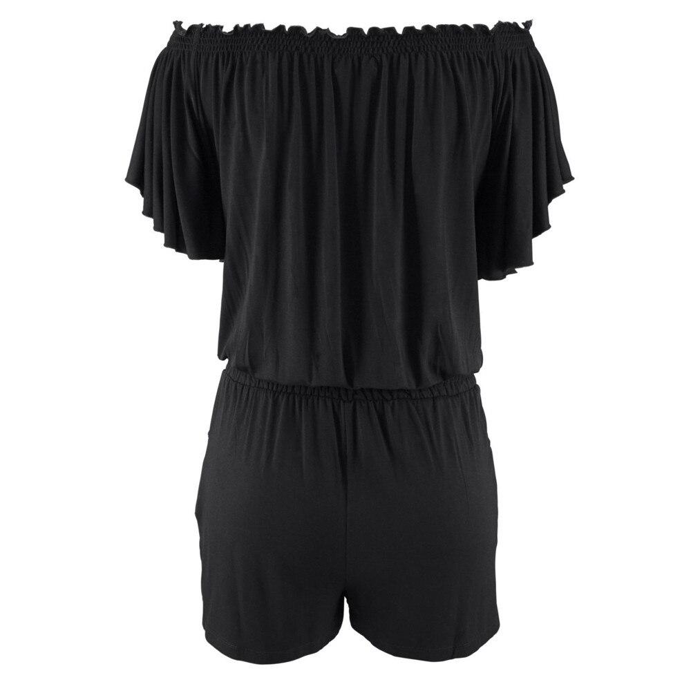 Elegancki kombinezony pajacyki Kobiet kombinezon 2017 dorywczo lato stałe Off shoulder sexy plus size Playsuit Bodycon Clubwear B2 2