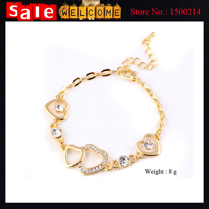 Indian Jewelry Statement Punk Cute 18k Gold Plated Heart Imitation Diamond Crystal Rhinestone Golden Love Bracelets Bangle Gift