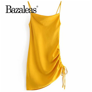 Bazaleas Like Silk spaghetti strap Summer dress Slim vestidos Vintage side Drawstring Fashion Satin Beach Dress drop shipping