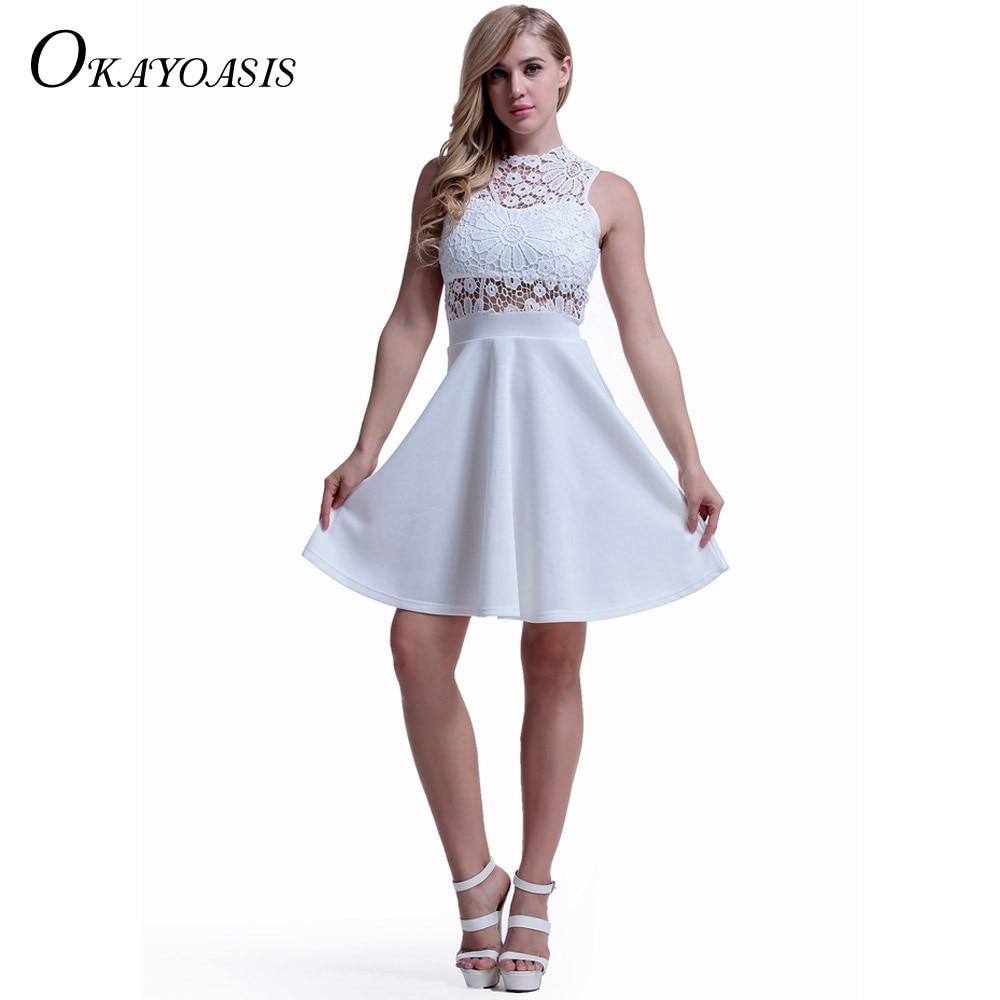 OKAYOASIS White Dress Beach Summer Women Cute 2017 Flare ...