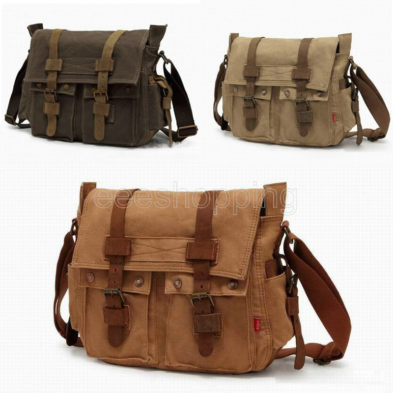 P117 Europe Style Vintage Mens Canvas Messenger Shoulder Bag School Military Casual Travel Zipper Buckle Multi Pocket For Laptop In Crossbody Bags From