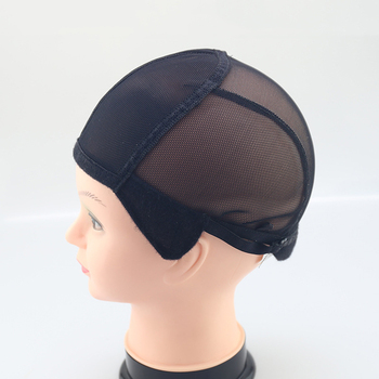 Stretch Lace Wig Caps For Making Wigs Black Mesh Hair Net Wig Weaving Cap With Adjustable Straps 1