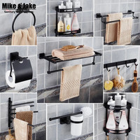 Stainless Steel 304 Bathroom Shelf Kit Bathroom Black Paper Holder Towel Shelf Ring Holder Robe Hooks