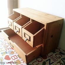 Miniarmario de madera maciza hecho a mano marrón vintage con 3 cajones