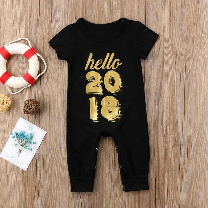 Pudcoco/Модный комбинезон для маленьких мальчиков и девочек с длинными рукавами и буквенным принтом Hello 2018, черные комбинезоны для малышей для мальчиков и девочек от 0 до 24 месяцев