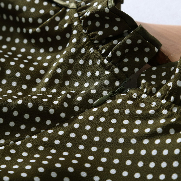2018 Printemps Nouveau Vert Tops Blouse Femmes Dot Haute Foncé Vintage Chemise Qualité rCWQxBoed