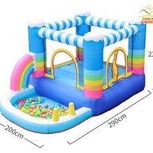 Радужное облако надувной прыжок замок перемычка Батут Дом с 350 Вт воздуходувки, надувной мяч бассейн слайд бросок игра для детей
