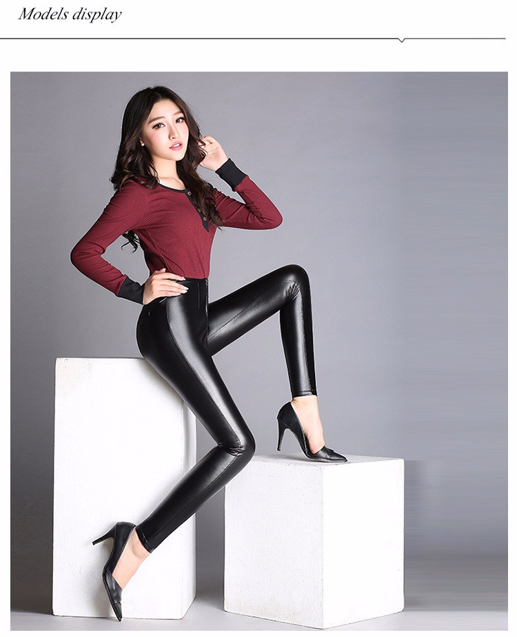 High Quality Black Pants Women Autumn Fashion Sexy Zipper Pu Leggings Pencil pants Pantalon Femme Leather Pants Plus Size 2016 a