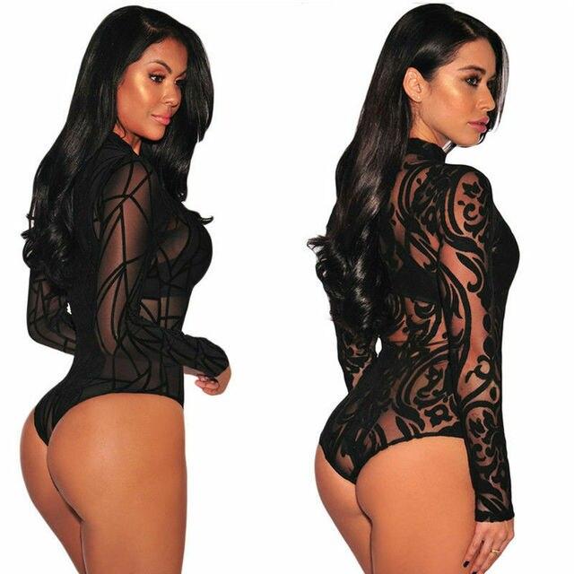 Women Sexy Sheer Mesh Lace Jumpsuit Long Sleeve Top Turtleneck Bodysuit USA 6
