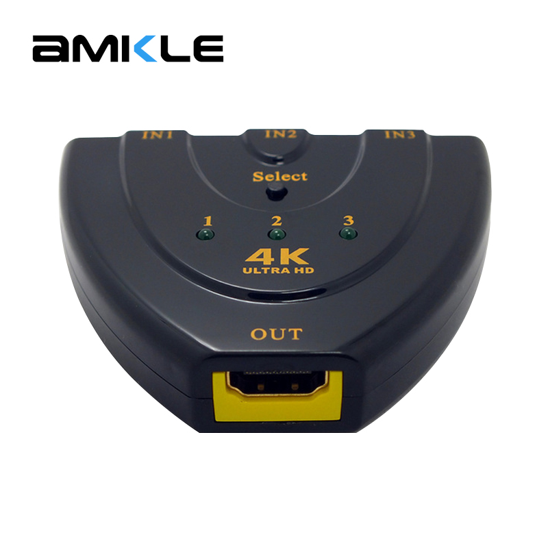 Amkle Mini 3 Ports HDMI Switch 1.4b 4k*2k 3D Switcher HDMI Splitter 3 in 1 Out Port Hub for DVD HDTV Xbox PS3 PS4 1080P