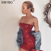 Sibybo סקסי שחור מועדון עיפרון שמלה ללא שרוולים 2017 סתיו חורף נשים עור PU מיני Bodycon תחבושת שמלות המפלגה Vestidos