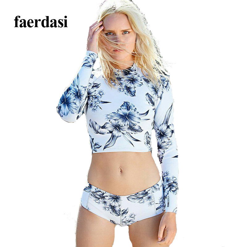 Women s tankini set print long sleeves swimwear 2017 hot spring swimming suits for women high