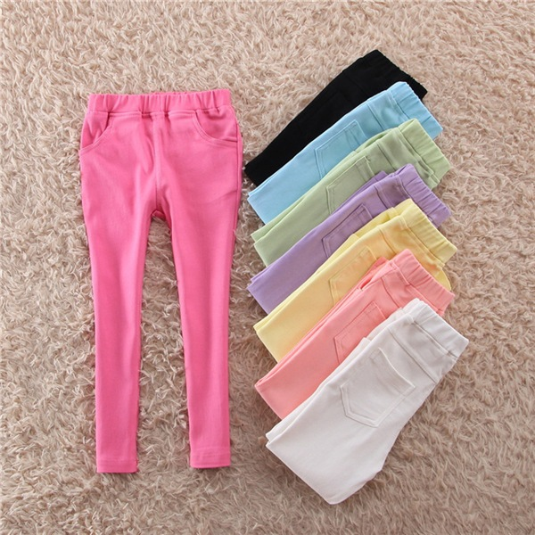 Candy Color Girls Leggings Kids Cotton Pencil Slim Jeggings Children Skinny Trousers Girl Korea Style Pants Clothes 3-12Years children s clothes girls autumn cotton pants kids casual jeans leggings blue color female child star hole trousers pencil pants