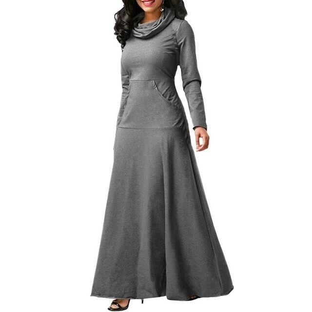 Women Long Sleeve Dress Large Size Elegant Long Maxi Dress Autumn Warm Turtleneck Woman Clothing With Pocket Plus Size Bigsweety 4
