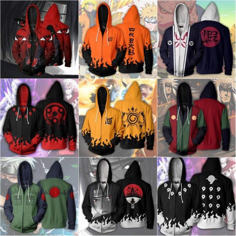 Uzumaki Naruto Hatake Kakashi Hoodies & Sweatshirts Cosplay Naruto Uchiha Itachi Anime 3D Printed Zip Hooded Sweatshirt Jacket